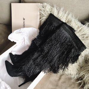 """Black Fringe Stiletto Boot 4.5"""" heel - Like New"""
